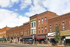 Liten stad Main Street Royaltyfri Fotografi