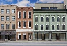 Liten stad Main Street Arkivfoto