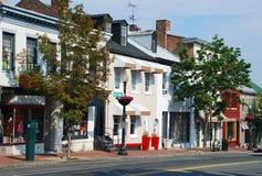 Liten stad Main Street Royaltyfria Foton