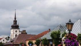 Liten stadinre och utomhus i Polen Arkivbilder