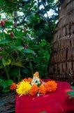 Liten staty av Lord Ganesha bland växter Ganpati festival royaltyfri foto