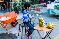 Liten syriansk pojke som arbetar på områdesbasar Royaltyfri Fotografi
