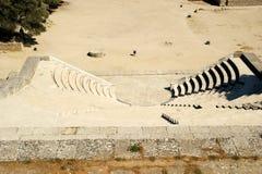 Liten teater nära Apollo Temple på akropolen av Rhodes Fotografering för Bildbyråer