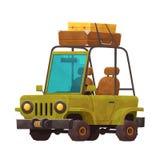 Liten tecknad filmbil med isolerade resväskor för lopp royaltyfri illustrationer
