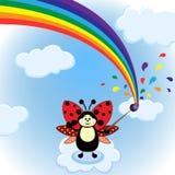 Liten tecknad filmskalbagge och regnbåge på himlen Royaltyfri Bild