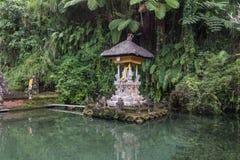 Liten tempel i ett damm Arkivbild