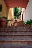 Liten terrass på trappuppgång Arkivfoton