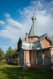 Liten träkyrka på Sergeevo, Palekh, Vladimir region, Ryssland Arkivfoto