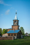 Liten träkyrka på Sergeevo, Palekh, Vladimir region, Ryssland Arkivbilder