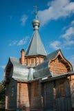 Liten träkyrka på Sergeevo, Palekh, Vladimir region, Ryssland Arkivfoton