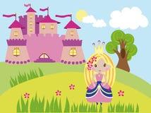 Liten trevlig prinsessa som går nära slotten Royaltyfri Fotografi