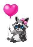 Liten tvättbjörn med en förälskelseballong vektor illustrationer