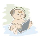 Liten unge som lyssnar till musik Royaltyfria Bilder