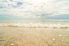 Liten våg på den soliga stranden Arkivfoton