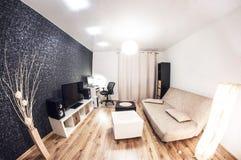 Liten vardagsrum i minimalist stil lins för distorsionsperspektivfisheye arkivbilder
