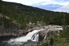 Liten vattenfall från norden av Norge Arkivbild