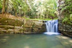 Liten vattenfall i bergskog med silkeslent skumma vatten Fotografering för Bildbyråer