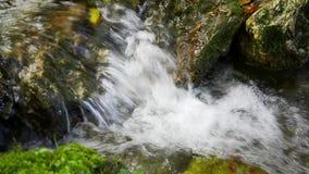 Liten vattenfall i en bergliten vik lager videofilmer