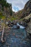 Liten vattenfall med kristallklart vatten Colorado fotografering för bildbyråer