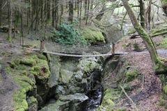 Liten vattenfall och bro, arkivbild
