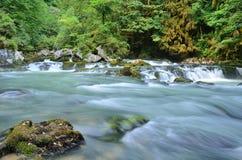 Liten vattenfall på bergfloden Royaltyfri Bild