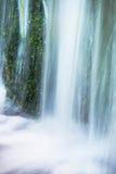 Liten vattenfall på den lilla bergströmmen, mossigt sandstenkvarter Klart kallt vatten är brådskan som hoppar ner in i liten pöl Royaltyfri Foto