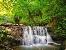 Liten vattenfall på en bergflod royaltyfria foton