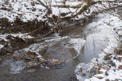 Liten vik i djupfryst vinterlandskap royaltyfri fotografi
