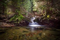 Liten vik med den lilla vattenfallet, Sumava, Tjeckien Arkivbilder