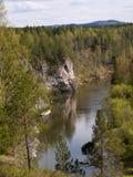 liten vikhjortar parkerar prirodny flodserga Arkivbilder