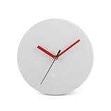 Liten vit enkel rund väggklocka - klocka som isoleras på vit bakgrund Arkivbilder