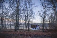 Liten vit stuga i färgglad skog royaltyfri fotografi