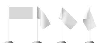 Liten vit tabellflaggauppsättning Fotografering för Bildbyråer