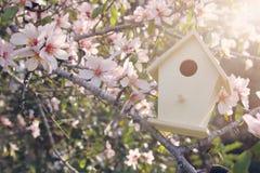 Liten voljär i vår över körsbärsrött träd för blomning royaltyfria foton