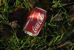 LITER IN NATURE EMPTY COKE CAN Stock Photo