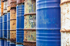 200 liter tank steel drums background Royalty Free Stock Photos