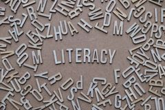 Literacy concept, word spelled out in wooden letters Stock Photos
