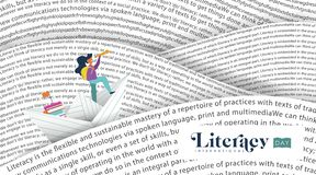 Literacy Day banner book sea for kids education Stock Images
