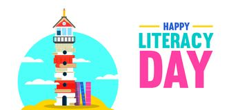Literacy Day banner of book culture concept Royalty Free Stock Photos
