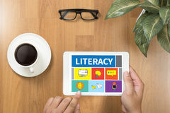 LITERACY Education School Financial Literacy to Education Stock Image