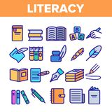 Literacy Linear Vector Thin Icons Set Pictogram vector illustration