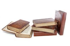 Literacy and wisdom, Antique leather bound reading books. stock photos