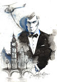 Literary heroes and architecture. Painting of Agent James Bond London Stock Images