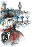 Literary heroes and architecture. Painting of Sherlock Holmes London Stock Photo