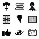 Literary icons set, simple style. Literary icons set. Simple set of 9 literary vector icons for web isolated on white background Royalty Free Stock Photos