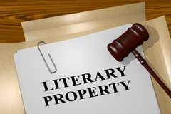 Literary Property concept. 3D illustration of LITERARY PROPERTY title on legal document Stock Photos