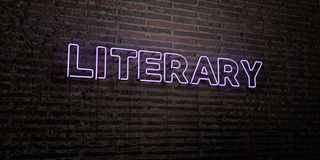 LITERARY -Realistic Neon Sign on Brick Wall background - 3D rendered royalty free stock image Royalty Free Stock Image