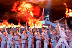 The literary show to commemorate the 70th anniversary of the victory of the Chinese anti-Japanese War. Stock Image