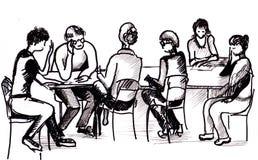 Literary society. Drawing, session of literary society Royalty Free Stock Photos