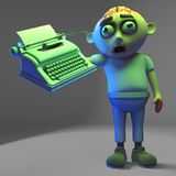 Literary zombie monster has purchased a typewriter, 3d illustration royalty free illustration